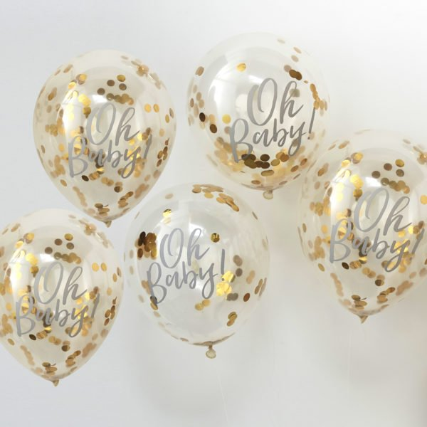 OB-108 Gold Confetti Oh Baby Balloon