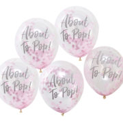 OB-119 About To Pop Pink Confetti Balloons – Cut Out