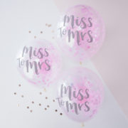 TB-627 Miss To Mrs Pink Confetti Balloons
