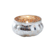 GW-707 Silver Glass Tea Light Holder With Rose Gold Inside – Cut Out