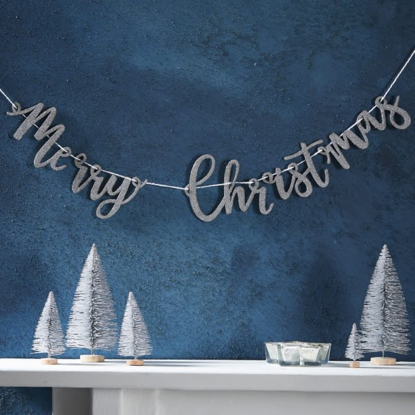 SL-332 Silver Wooden Merry Christmas Bunting V2