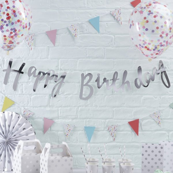 PM-227 – Silver Happy Birthday Bunting